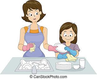 filha, lavando, mãe, pratos