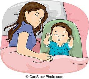 filha, mãe, dormir