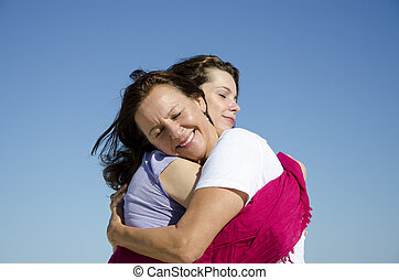 filha, mostrando, amor, afeto, mãe