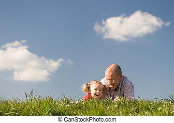 filha, pai, feliz