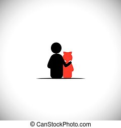 filha, relacionamento, -, pai, junto, ligar, vetorial, ícone