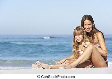 filha, relaxante, junto, mãe, feriado, praia