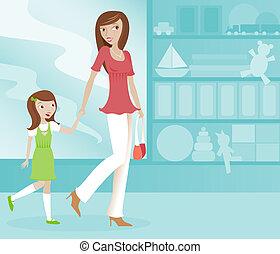 filha, shopping, mãe
