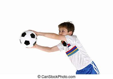 filho jogando, futebol