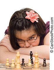 filho jogando, xadrez