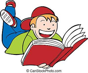 filho lê livro, criança