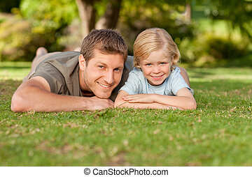 filho, pai, parque, seu
