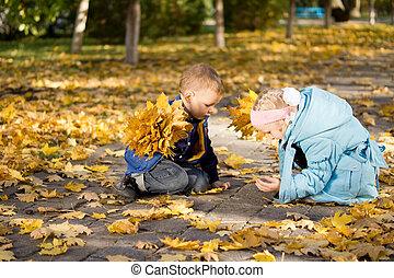 filhos jovens, com, caído, amarelo sai, em, um, parque