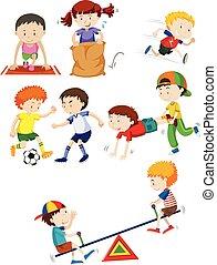 filhos jovens, e, atividade