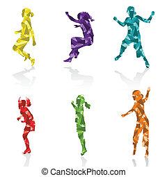 filhos jovens, ilustração, silhuetas, pular