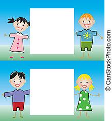 filhos jovens, segurando, em branco, papel