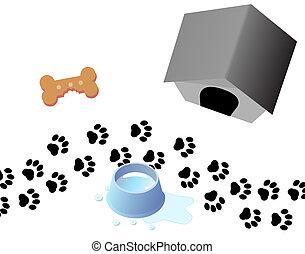 filhote cachorro, cão, rastro