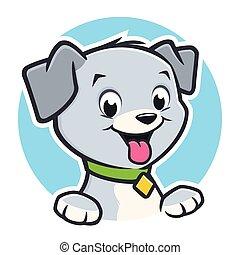 filhote cachorro, caricatura, cão