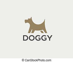 filhote cachorro, logotipo, desenho, template., cão, criativo, sinal., animal estimação, veterinário, vetorial, ícone, logotype.