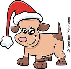 filhote cachorro, natal, caricatura