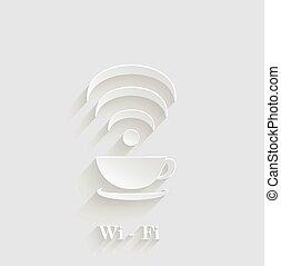 filiżanka do kawy, abstrakcyjny, element, projektować, fale, wi-fi, shadow., 3d