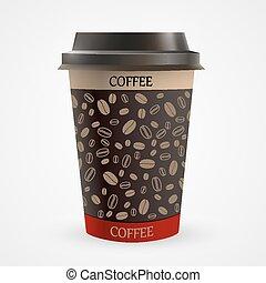 filiżanka do kawy, do góry, papier, czysty, zamknięcie