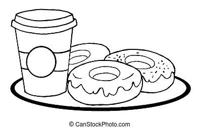 filiżanka do kawy, donuts