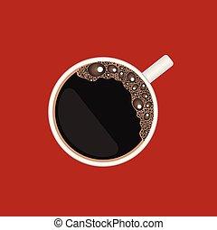 filiżanka do kawy, górny, odizolowany, ilustracja, wektor, tło, prospekt, czerwony