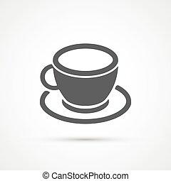 filiżanka do kawy, modny, icon., wektor
