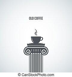 filiżanka do kawy, projektować, tło, klasyk