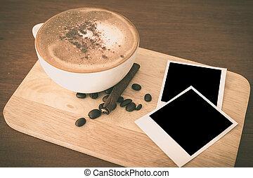 filiżanka do kawy, w, kawa magazyn, -, rocznik wina, styl, skutek, obraz