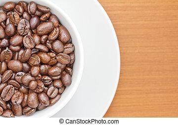 filiżanka do kawy, wizerunek, do góry, fasola, zamknięcie, biały, spodek