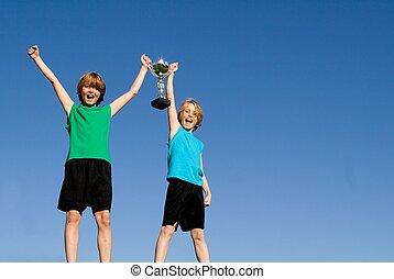 filiżanka, dzieciaki, zwycięski, lekkoatletyka