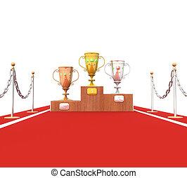 filiżanka, izolacja, trofea, podium, 3d, czerwony dywan