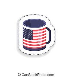 filiżanka, to, ilustracja, bandera, wektor, ameryka