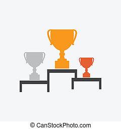 filiżanka, zwycięzca, ikona