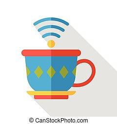 fili, appartamento, caffè, icona