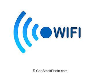 fili, blu, wifi, rete, icona