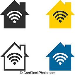 fili, casa, rete, icone