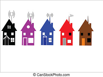 fili, case, bianco