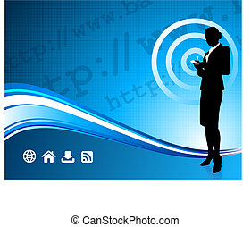 fili, donna d'affari, moderno, fondo, internet