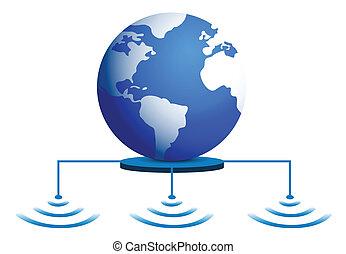 fili, globo mondo, collegamento