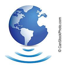fili, globo mondo, collegamento, uno