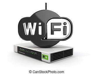fili, instradatore, wifi, segno