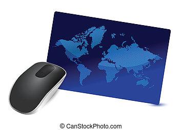fili, internazionale, collegamento, mouse elaboratore