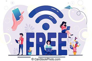 fili, punto, mobile, sopra, illustrazione, libero, wi-fi, trasmissione, collegamento, vettore, flussi, utente, radio digitale, dati, pubblico, canali, interfaccia