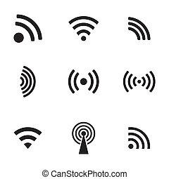 fili, set, nero, vettore, icone