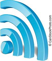 fili, simbolo, vettore, rete, wifi