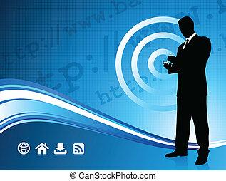 fili, uomo affari, moderno, fondo, internet
