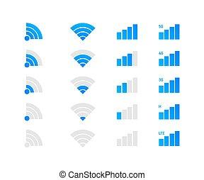 fili, wifi, sistema, set, telefono, mobile, illustration., vettore, icons.