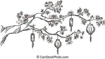 filial árvore, com, chinês, lanternas