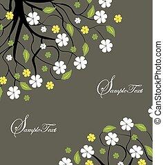filial árvore, com, folhas, e, flores
