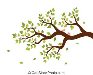 filial árvore, e, dois pássaros