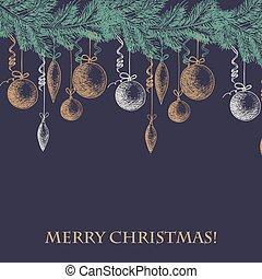 filial, träd, text, munter, kort, färsk, jul, skiss, hand, oavgjord, år, decorations., pälsfodra