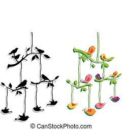 filial, vektor, träd, fåglar